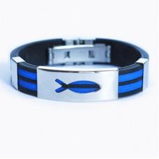"""Христианский браслет """"Рыбка"""", цвет: синий"""